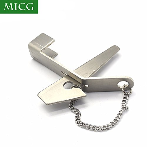 (MICG Stainless Steel Security Hasp Latch Lock No Installation Portable Convenient Hotel Door Lock)