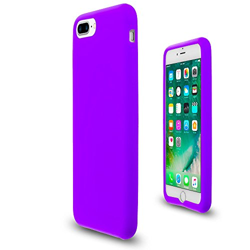Purple Soft Silicone Rubber Case Flexible Skin Jelly Cover for iPhone 7 + 8 Plus - Jelly Cover