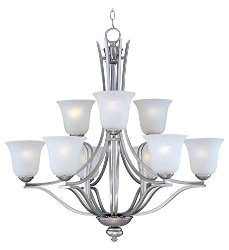 - Nine Light Ice Glass Satin Silver Up Chandelier