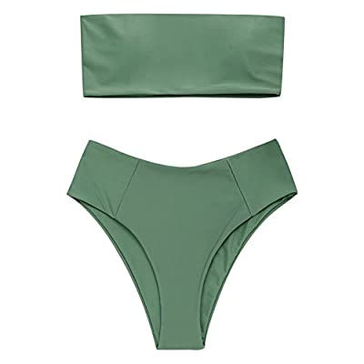 ZAFUL Women's High Cut Bandeau Bikini Set Strapless Solid Color 2 Pieces Bathing Suit Swimsuit: Clothing
