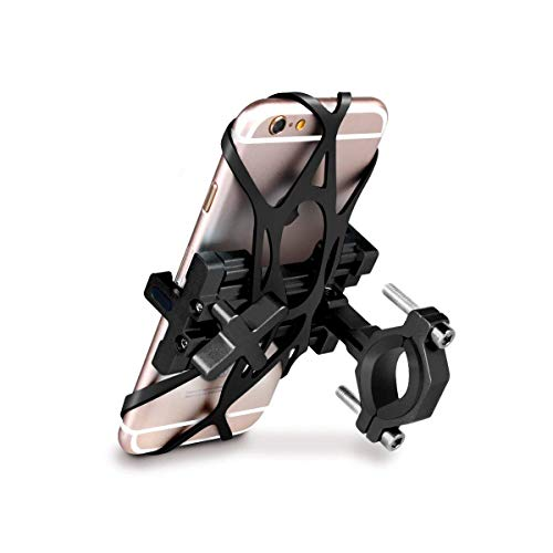 SpoLite Chrome Bike Phone Mount for Motorcycle-Bike-Bicycle Handlebars,Adjustable,Bike Phone Holder Fits Cell Phone iPhone X,8|8 Plus,7|7 Plus,6s|6s Plus,Galaxy S7 S6 for Cycling (Black)
