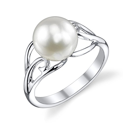 8mm Freshwater Pearl Ring (8mm White Freshwater Cultured Pearl Sandy Ring)