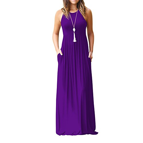 Color Dress Women Solid Striped for Dresses with AEL Long Pockets Vest Print Sleeveless Purple Dresses Casual a6qwa0X