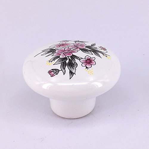 Vita Hardware 38mm white ceramic furniture knobs porcelain drawer cabinet pulls pink flower ceramic handle Pack of 5