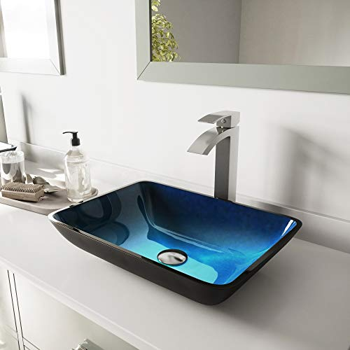 - VIGO Rectangular Turquoise Water Glass Vessel Bathroom Sink and Duris Vessel Faucet with Pop Up, Brushed Nickel