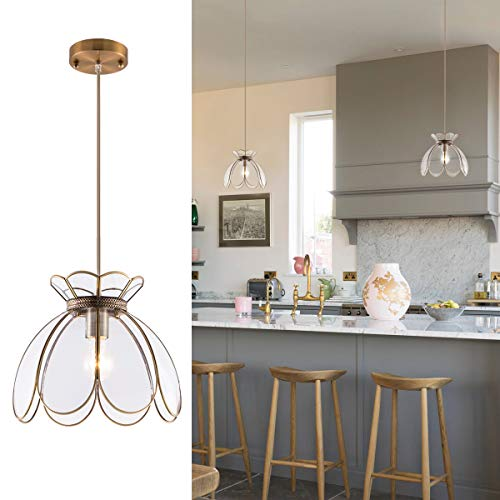 YIFI Adjustable Pendant Light Brass Vintage Glass Lotus Flower Ceiling Pendant Light for Kitchen Island Dining Room Bedroom Living Room, Clear