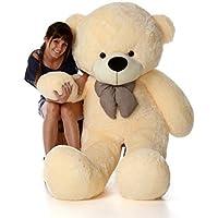 CLICK4DEAL Stuffed Spongy Cute Cotton Teddy Bear with Heart Shape Cusion (Cream, 6 ft)