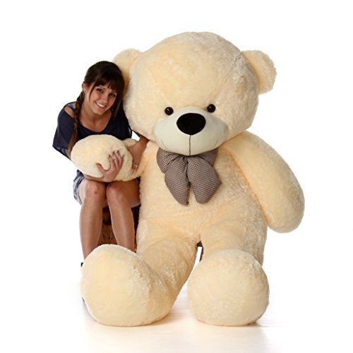 - 6 Foot Life-Size Teddy Bear Cream Vanilla Color Smiling Face Giant Stuffed Animal Cozy Cuddles