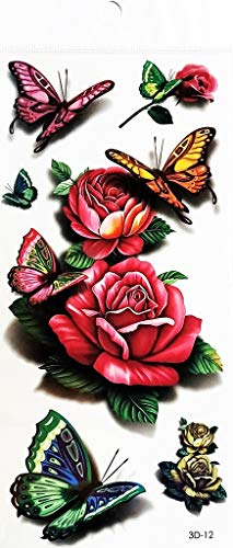 PP TATTOO 1 Sheet Rose Flower Beautiful Butterfly Insect Bug Dragonfly Animal Temporary Tattoos Art Makeup Body Art Transfer Tattoo Arm Sticker for Women Men -