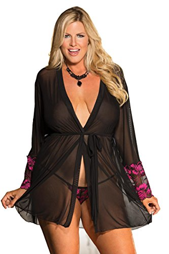 Shirley Lingerie Set (Shirley of Hollywood Plus Size Two Tone Lace Robe Set, 3X/4X, Black)