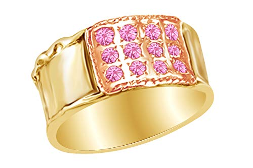 - AFFY 14k Yellow Gold Over Sterling Silver Round Shape Simulated Tourmaline Two Tone Fashion Ring Size 5