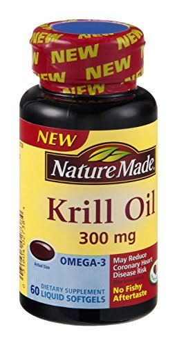 Nature Made Krill Oil Liquid Softgels 300mg , 60 CT (Pack of 3)