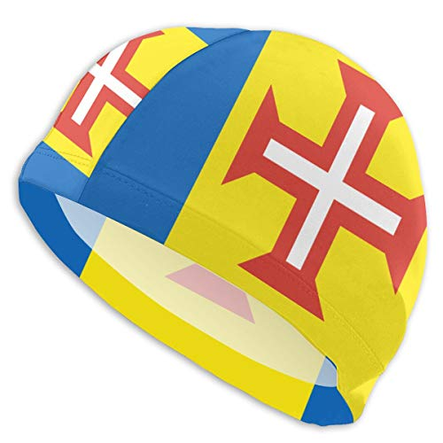 Hengyiyuanchanpin Adult Printed Bath Cap Men and Women Unisex for Water Sports High Stretchy Lycra for Long Hair Short Hair Flag of Madeira
