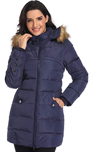 Epsion Women's Hooded Thickened Long Down Jacket Winter Down Parka Puffer Jacket (Navy Blue, XS)