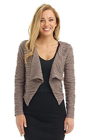 Rekucci Women's Soft n' Chic Wave Knit Cascading Jacket (Medium,Mocha) - Cocktail Dress Jacket