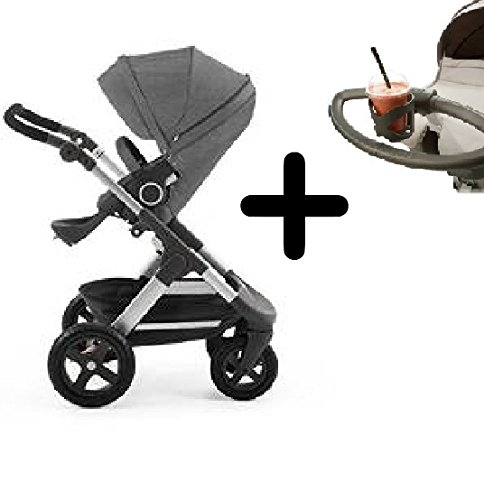 Stokke Trailz All-Terrain Stroller - Black Melange + Stokke Cup Holder by Stokke