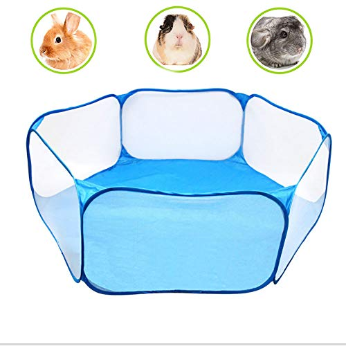 Tfwadmx Hamster Foldable Exercise Playpen, Portable Pet Playpen, Indoor/Outdoor Cage, Collapsible Small Animal Fence for Rats Rabbits Chinchillas Guinea Pigs Gerbil Hedgehog (Blue)