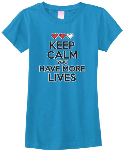 Price comparison product image Threadrock Big Girls' Keep Calm You Have More Lives Fitted T-Shirt L Turquoise