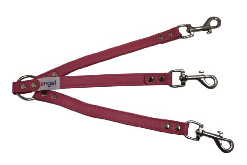 - Angel Pet Supplies 3-Dog Leather Coupler, 10 by 3/4-Inch, Bubblegum Pink