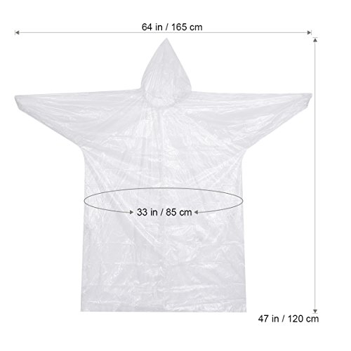 LULULION Emergency Disposable Waterproof Rain Ponchos Raincoats with Sleeves and Hood 10 PACK for Festivals Outdoor - White: Amazon.co.uk: Sports & Outdoors