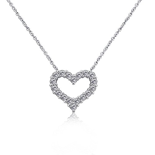 Diamonbliss Rhodium Plated Sterling Silver 1 ct Cubic Zirconia Heart Shape Pendant with Chain (Necklace Cubic Fashion 16' Zirconia)