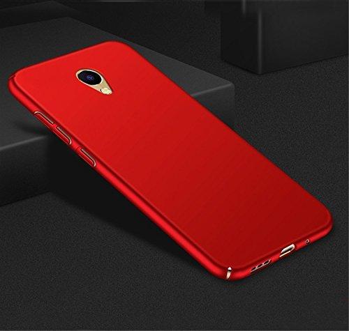 Funda Meizu A5 / M5C, Caso con [Protector de Pantalla de Cristal Templado] [Ultra-Delgado] [Ligera] Anti-Rasguño y Huellas Dactilares Totalmente Protectora Estuche de Plástico Duro -Negro Rojo