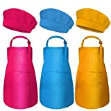 3 Pcs Kids Aprons and Chef Hats Set, Kids Chef Hat Apron Set Waterproof and Adjustable Child Aprons with 2 Pockets Kitchen Bib Aprons for Boys and Girls Cooking Baking Painting (Pink,Blue,Orange)