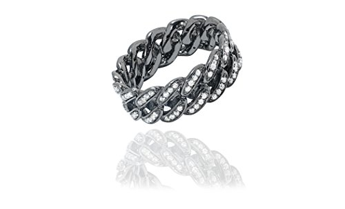 (NYC Sterling Women's Sterling Silver Cubic Zirconia Curb Link Ring (Black-Rhodium-Plated-Silver,)