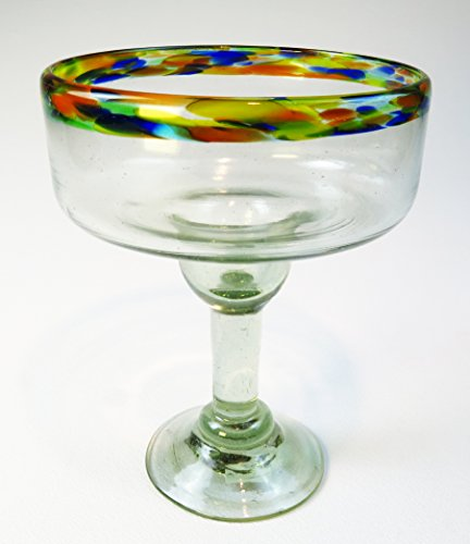 Mexican Margarita Glass, XXL 34 Oz. Confetti Rim by Mexican Margarita Glasses
