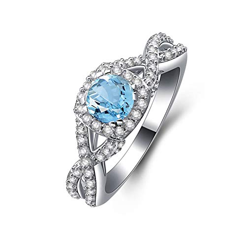 ANAZOZ Round Shape 5.5MM Blue Topaz Women Ring S925 Sterling Silver Engagement Rings for Women Infinity Size 8.5