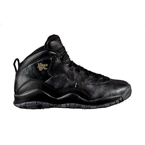 Jordan Nike Kids Air 10 Retro Bg Black/Black/Drk Grey/Mtllc Gld Basketball Shoe 4.5 Kids US