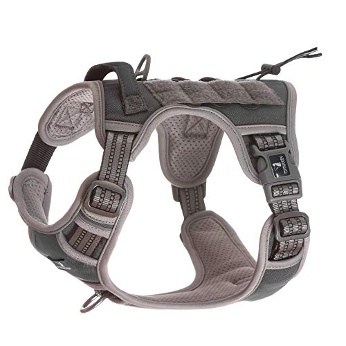 FIVEWOODY Tactical Service Dog Harness Training No Pulling Front Clip Leash Attachment Reflective K9 Working Dog Vest Easy Control for Small Medium Large Dogs Service Dog Harness Grey-M