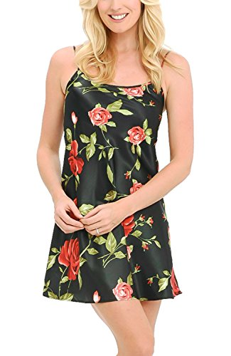 Del Rossa Women's Satin Nightgown, Long Camisole Chemise, XL Roses on Black (A0766P36XL)