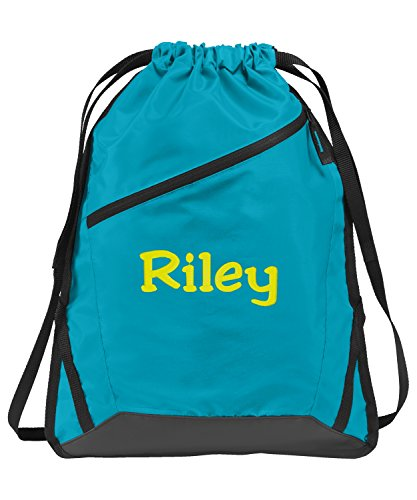 All about me company Zip-It Cinch Pack | Personalized Monogram/Name Sackpack Bag (Tropic Blue/Black)