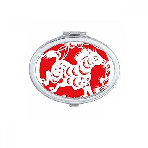 Paper-cut Horse Animal China Zodiac Art Oval Compact Makeup Mirror Portable Cute Hand Pocket Mirrors Gift by DIYthinker