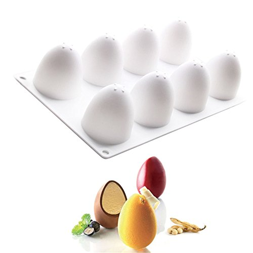Easter Eggs Shape Chocolate Silicone Molds Cake Decorating Tools Bakeware French Dessert Mousse Cake Mold Baking Cupcake Silicone Mousse Mold - 8 Cavities ()