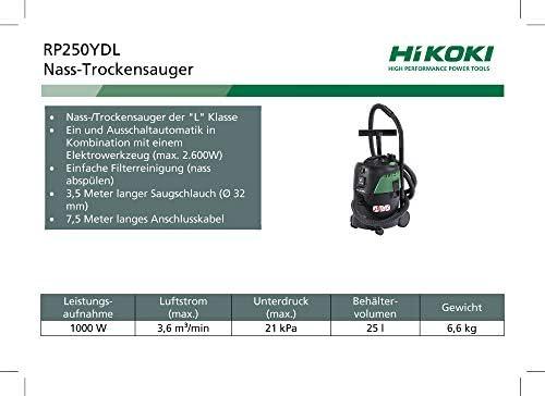 HIKOKI 51116376 - Aspirador eléctrico 1000W Con toma Para herramienta eléctrica depósito de 25L RP250YDLZ