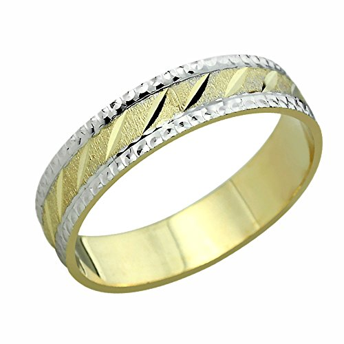 Free Engraving 14K Yellow Gold & White Gold Wedding Band DC-Cutting Patterned Ring