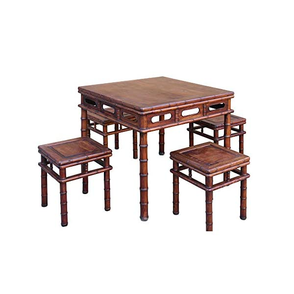 orientliving Chinese Brown Huali Rosewood Square Table Chair 5 Pieces Set Acs4636
