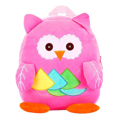 (Cute Kids Toddler Backpack Plush Toy Animal Cartoon Children Bag for 1~5 Years Baby (Owl_Pink) )
