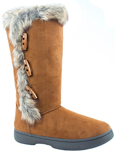 - Bamboo Shoes Women's Tahoe-16 Chesnut Winter Faux Fur Boots Toggle Buttons 8 D(M) US