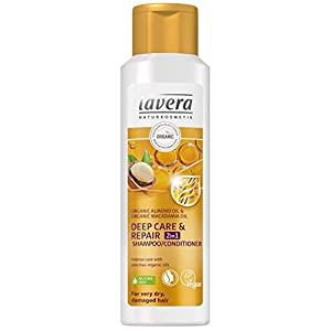 Shampoing/revitalisant 2 en 1 lavera pour cheveux secs et abîmés – Végétalien – Soins capillaires bio – Cosmétique naturelle – 250 ml