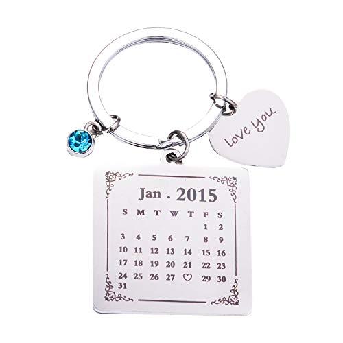 Custom Keychain Engraving Custom Date Calendar Keychain Custom Date Pendant Key Ring for Lovers Couples Valentine's Day Birthday Anniversary Special Day Gift