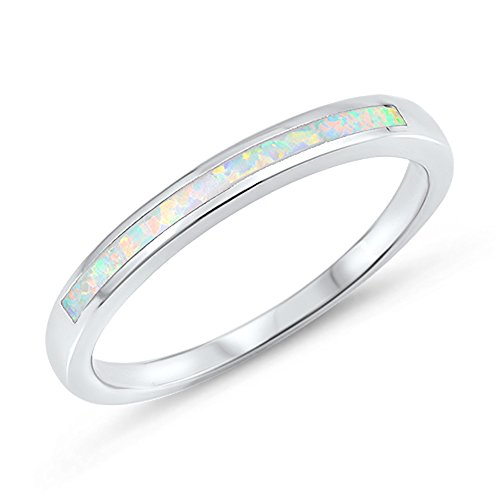 White Opal Thin (White Simulated Opal Wedding Ring New .925 Sterling Silver Thin Band Size 7)