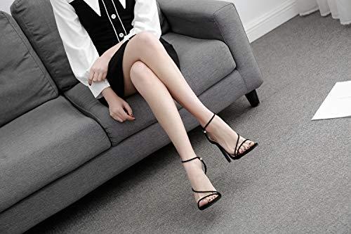 De Black Color Banda Para Fengjingyuan Caramelo Elástica Mujer Y Alto Zapatos Sandalias Fresca Tacón Delgada x6IBIqw