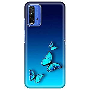 Amazon Brand – Solimo Designer Butterfly Blue Design 3D Printed Hard Back Case Mobile Cover for Xiaomi Redmi 9 Power
