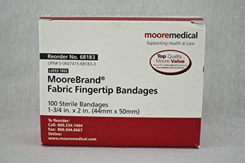 Moore Medical Adhesive Bandages Medium Fabric Strips Fingertip - Box of 100
