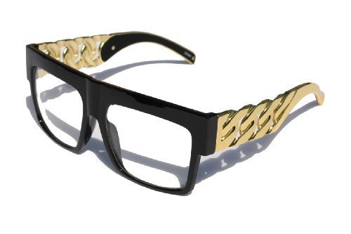 (Designer Inspired Thick Gold Link Chain clear Flat Top Unisex Glasses Black by MODA)