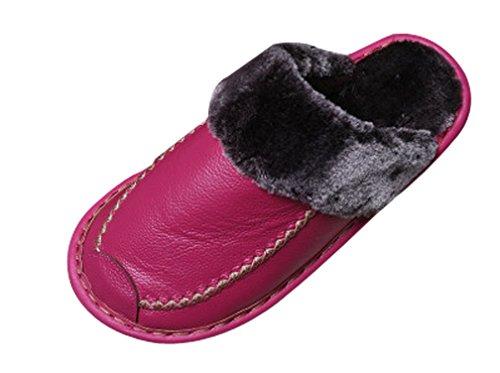 Cattior Womens Foderato Di Pelliccia Interna Coperta Pantofole Pelose Pantofole In Pelle Rosa Rossa
