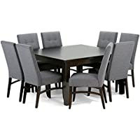 Simpli Home Ezra 9 Piece Dining Set, Slate Grey